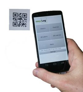 Clocking in with the easyLog smartphone app and a QR code